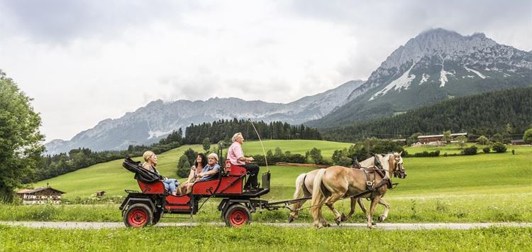 Horse drawn carriage ride to the film town of the Bergdoktor