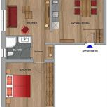 Appartement, douche, WC, 1 chambre